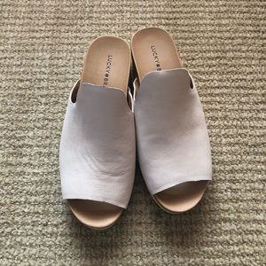 Lucky Brand Cream Wedge Slide Sandals